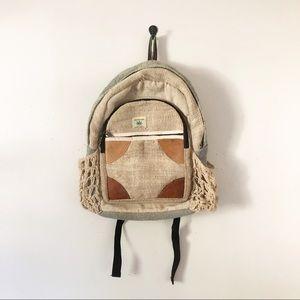 Hemp 100% Pure Knitted Boho Natural Backpack